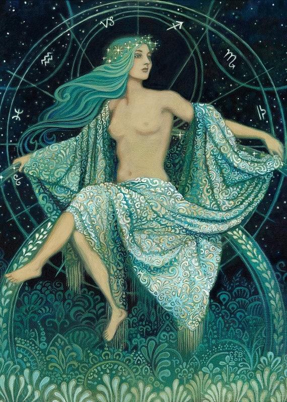 Asteria - Goddess of the Stars Greek Mythology 5x7 Card