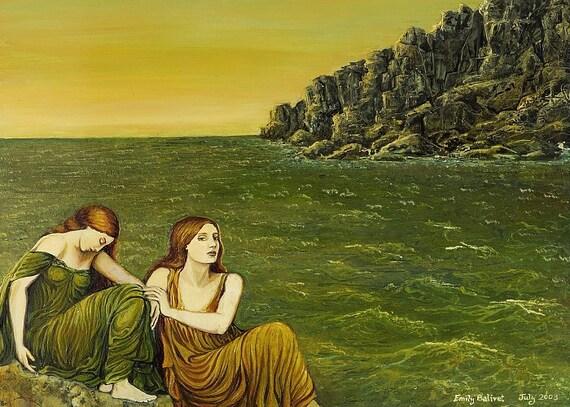 Sea Sisters - Ocean Goddess Art 5x7 Blank Greeting Card