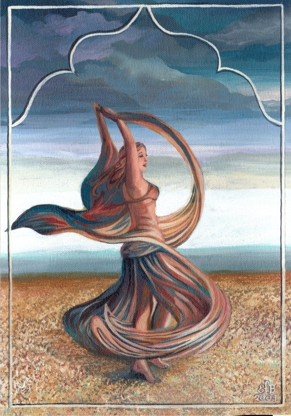 The Dance of the Seven Veils Belly Dance Goddess 5x7 Card