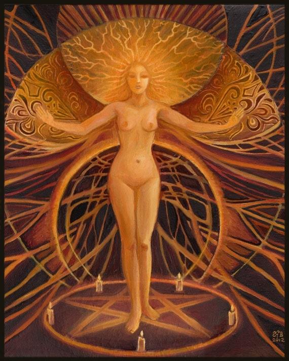 Initiation - Pagan Witch Goddess Art 16x20 Poster Print