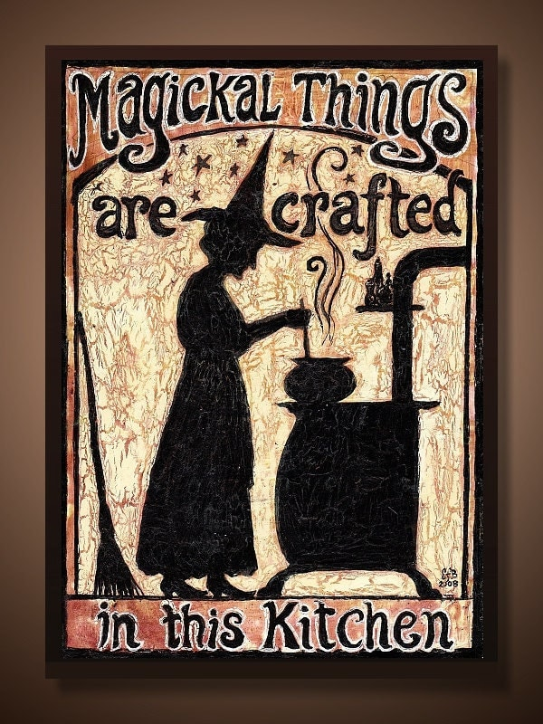 Kitchen witch aceo magickal things are crafted in by for Witches kitchen ideas