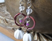 Earrings - vintage Swarovski crystal, sterling silver, moonstone, ruby, rosy copper, stud earrings - Fuchsia