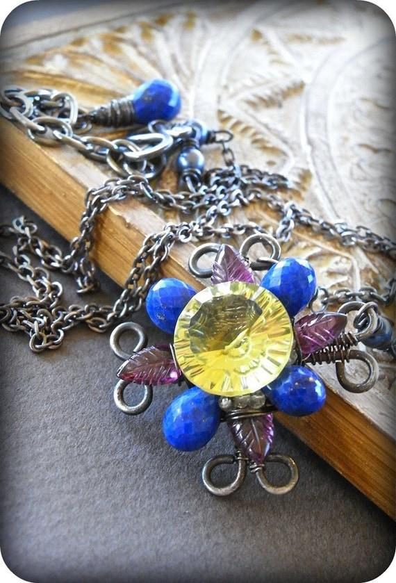 On Sale - Lapis lazuli, rubelite garnet, smoky quartz, Akoya pearl, oro verde and sterling silver necklace - Catherine Window