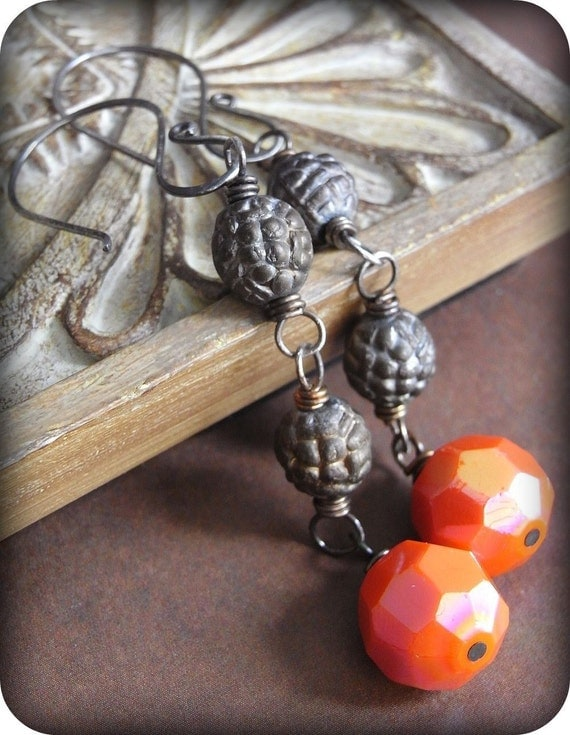 On Sale - Earrings - sterling silver, oxidised, vintage glass, long, orange, brown hues - Harvest