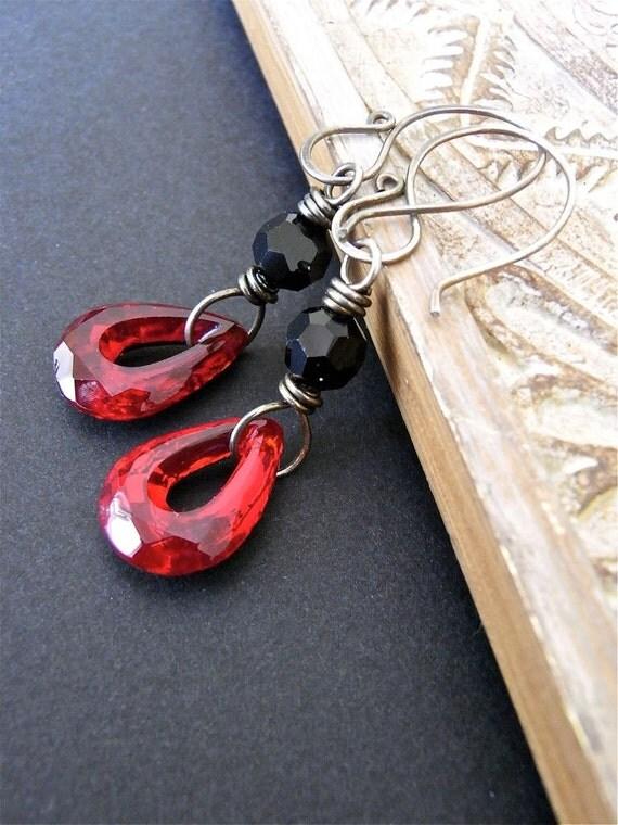 On Sale - Earrings - sterling silver, oxidised, vintage Swarovksi crystal, vintage glass teardrop - Vamp