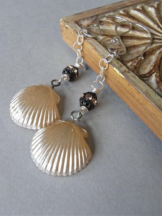 Earrings - sterling silver, vintage glass pearl, metal, crystal - Venus