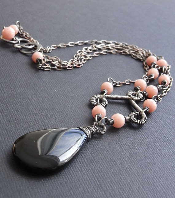 On Sale - Black chalcedony, opal and sterling silver 2 stranded necklace - Freya