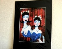 Growth & Introspection (Personal Growth) - 8x10 Matted Archival Print of an original Ela Steel painting blue tight corset circus freak show