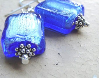 Blue glass bead earrings, Wife Birthday Gift, Wife Gift, friend gift Bali silver silver foil chunky glass bead earrings friend birthday gift