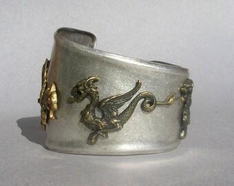 Game of Thrones Bracelet Dragon Bracelet Silver Metal Cuff Bracelet Silver Dragon Jewelry Dragon Bracelet Cuff