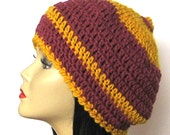 Crochet Beret Slouch Hat in Mustard and Marsala - EcoFriendly Luxurious Merino Wool