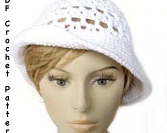 Crochet Hat Pattern - Ingrid Bergman Summer Sun Hat 1940s Retro Style - Instant Download PDF
