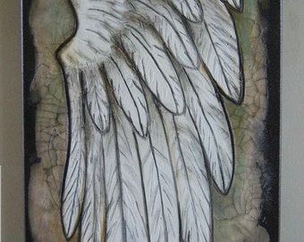 Angel Wing  -Textured Acrylic Art - Inspirational