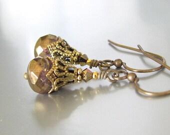 Victorian Earrings, Vintage Style Earrings, Art Nouveau Earrings, Abbey Style Antiqued Bronze, Swarovski Crystals, Wedding Bridal