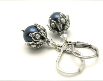 Night Blue Pearl Earrings Ornate Steampunk Earrings Swarovski Crystal Pearls June Birthstone Antiqued Silvertone Hawaii Beads