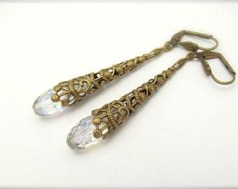 Crystal Earrings, Vintage Swarovski Crystal AB, Wedding Earrings, Christmas Earrings, Chandelier Earrings, Bridal Bridesmaid, Hawaii Beads