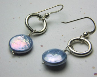 Blue Earrings, Bridal, something blue, Coin pearl earrings, Silver earrings, Camp Sundance, Gem Bliss
