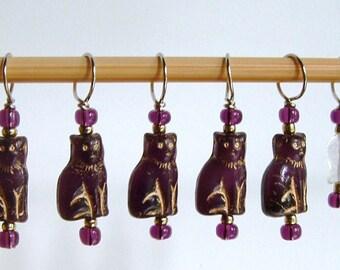 Purple Cat Stitch Markers--Set of Six