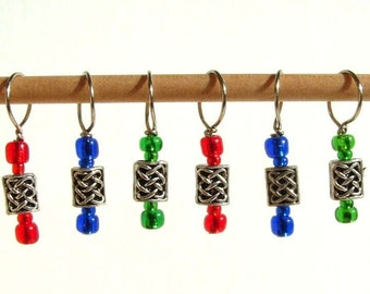 Celtic Boxes Stitch Markers--Three Pairs
