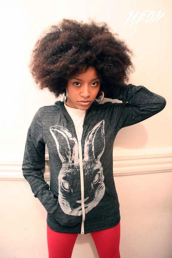 free shipping etsy, eco hoodie, Rabbit sweatshirt, womens clothing, Eco organic recycled dark grey zip hoodie with Rabbit print unisex S