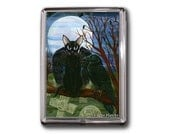 Black Cat Raven Magent Moon Crow Gothic Graveyard Fantasy Cat Art Framed Magnet Cat Lovers Gifts