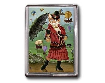 Steampunk Cat Magnet Victorian Gothic Airships Hot Air Balloons Fantasy Cat Art Framed Magnet Gifts For Cat Lovers