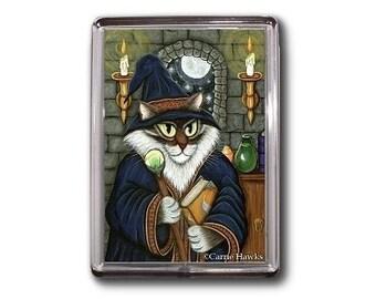 Wizard Cat Magnet Merlin Magician Magic Fantasy Cat Art Framed Magnet Gifts For Cat Lovers