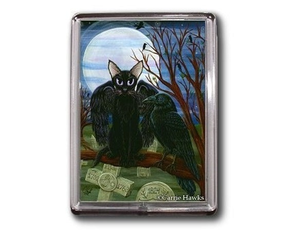 Black Cat Raven Magent Moon Crow Gothic Graveyard Fantasy Cat Art Framed Magnet Cat Lovers Gifts