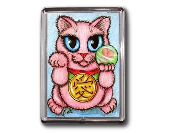 Lucky Cat Magnet Maneki Neko Love Luck Fortune Romance Fantasy Cat Art Framed Magnet Gifts For Cat Lovers