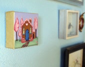 Mini Candy House-Pop Surrealism Fairy Tale Fantasy Original Acrylic Painting 4x4-By Alexandria Sandlin Cherrybones