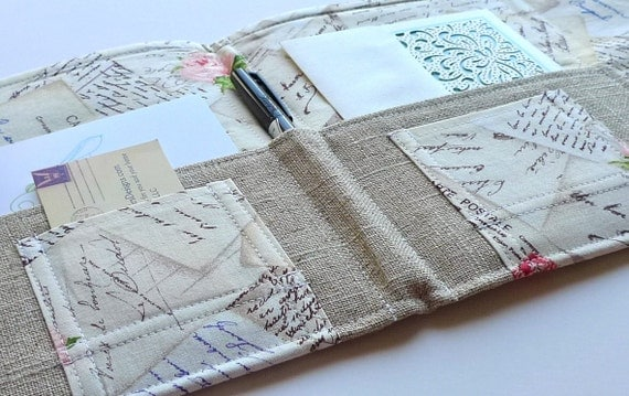 Love Letter Stationery Clutch, Organizer - In Touch Clutch (tm) in Letters in Paris, France, French Postcards