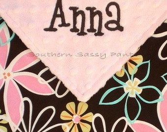 Personalized Baby Girl Blanket , Daisy Dreams and Minky Dot Blanket