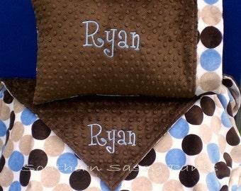 Personalized Kids Blanket and Standard Size Pillowcase Set , Minky Blanket , 36x48