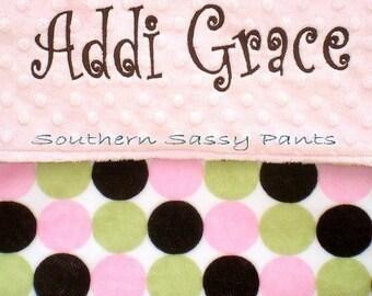 Baby Girl Minky Blanket ,  Personalized Retro Dot Baby Blanket