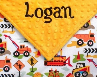 Baby Boy Tractor Security Blanket ,  Dig It and Minky Personalized Blanket for Boys , Small Lovie Size 18x18