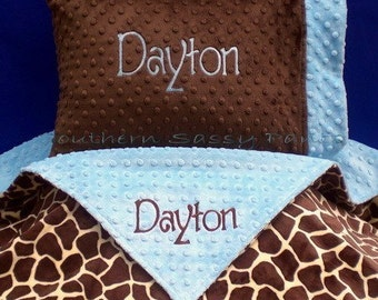 Personalized Toddler Bedding , Minky Toddler Bed Blanket and Standard Pillowcase , YOU DESIGN