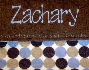 Personalized Baby Boy Blanket , Minky Baby Security Blanket - Blue and Brown Retro Dot for Baby Boy