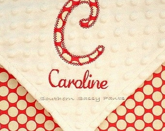 Personalized Baby Girl Blanket , Monogrammed Minky Blanket  with Applique Initial and Embroidered Name - 30x40