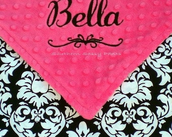 Personalized Baby Girl Blanket - Minky and Damask Security Blanket