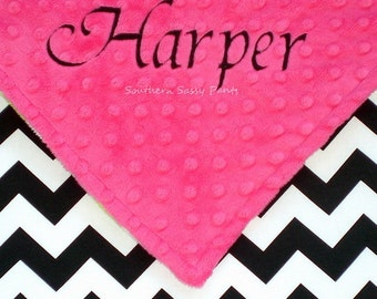 Baby Girl Stroller Blanket , Personalized Black and White Chevron Baby Blanket - You Design ZigZag Blanket - 30x40