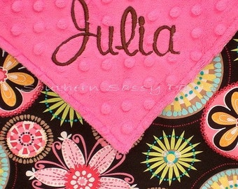 Personalized Baby Girl Blanket ,  Minky Blanket with Carnival Bloom