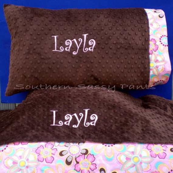 items similar to personalized toddler pillow and blanket set minky pillowcase and blanket. Black Bedroom Furniture Sets. Home Design Ideas