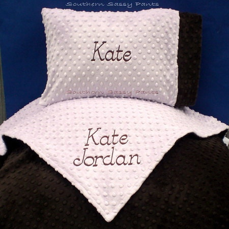personalized baby blanket and pillow set minky blanket and. Black Bedroom Furniture Sets. Home Design Ideas