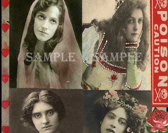 99 cent SALE - instant DIGITAL Download - COLLAGE Sheet printable - Vintage Poison Labels - Victorian Gothic  - Paper Craft art Supples