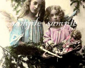 no504 VINTAGE Angels photo - instant DIGITAL DOWNLOAD - Victorian Little Girl Angels - Edwardian Girls -