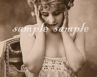 no522 VINTAGE photo DIGITAL instant DOWNLOAD - Printable - Antique Photograph - Victorian Beautiful Woman