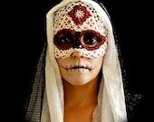 Tatted Sugar Skull Mask  -Dia De Los Muertos - TotusMel