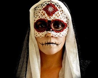 Tatted Sugar Skull Mask  -Dia De Los Muertos