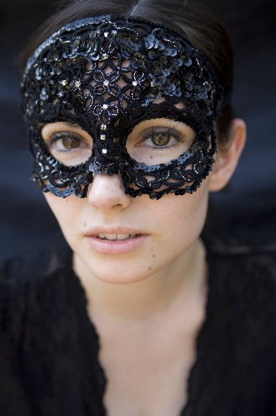 Items similar to Masquerade - Tatted Sequin Lace Mask