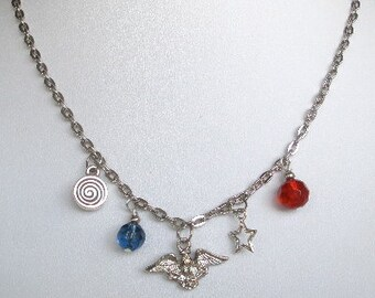 Red White Blue Eagle Charm Patriotic Nautical Necklace